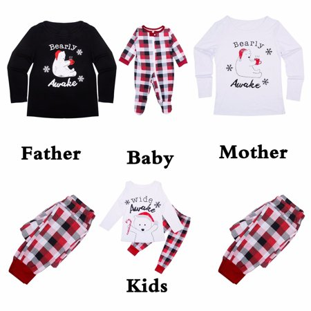cathery plaid christmas pajamas mama papa kids baby polar bear top plaid pants pjs set for family walmartcom