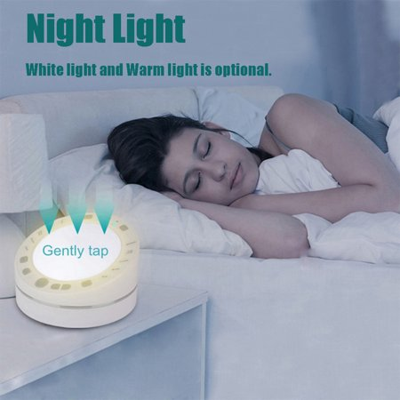 Portable Timing Sleep Therapy White Noise Sound Machine Night Light | for Home, Office, Baby & Travel | 10 Relaxing & Soothing Nature Sounds, Battery or