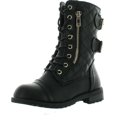 Link Girls Mango-79 Kids Combat Lace up Quilted Dual Buckle Zip Decor Mid Calf Motorcycle Boots