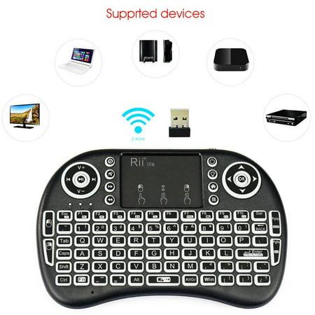 Rii i8s 2.4Ghz Mini Wireless Keyboard LED Backlit Touchpad with USB Receiver