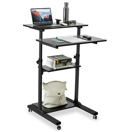 Mount-It! Mobile Stand Up Desk/Height Adjustable Computer Work Station Rolling Presentation Cart