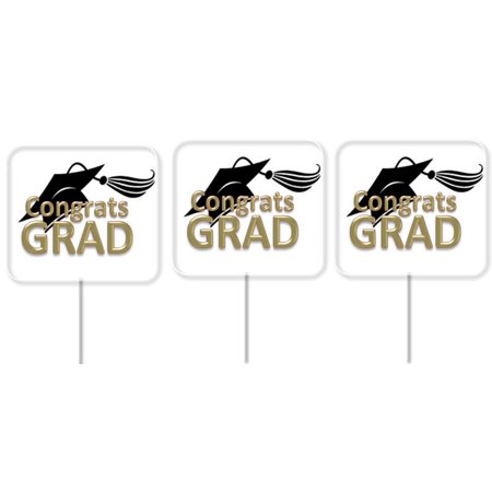 Congrats Graduation Party Cupcake Picks Gold & Black-24pack - Graduation Party Picks