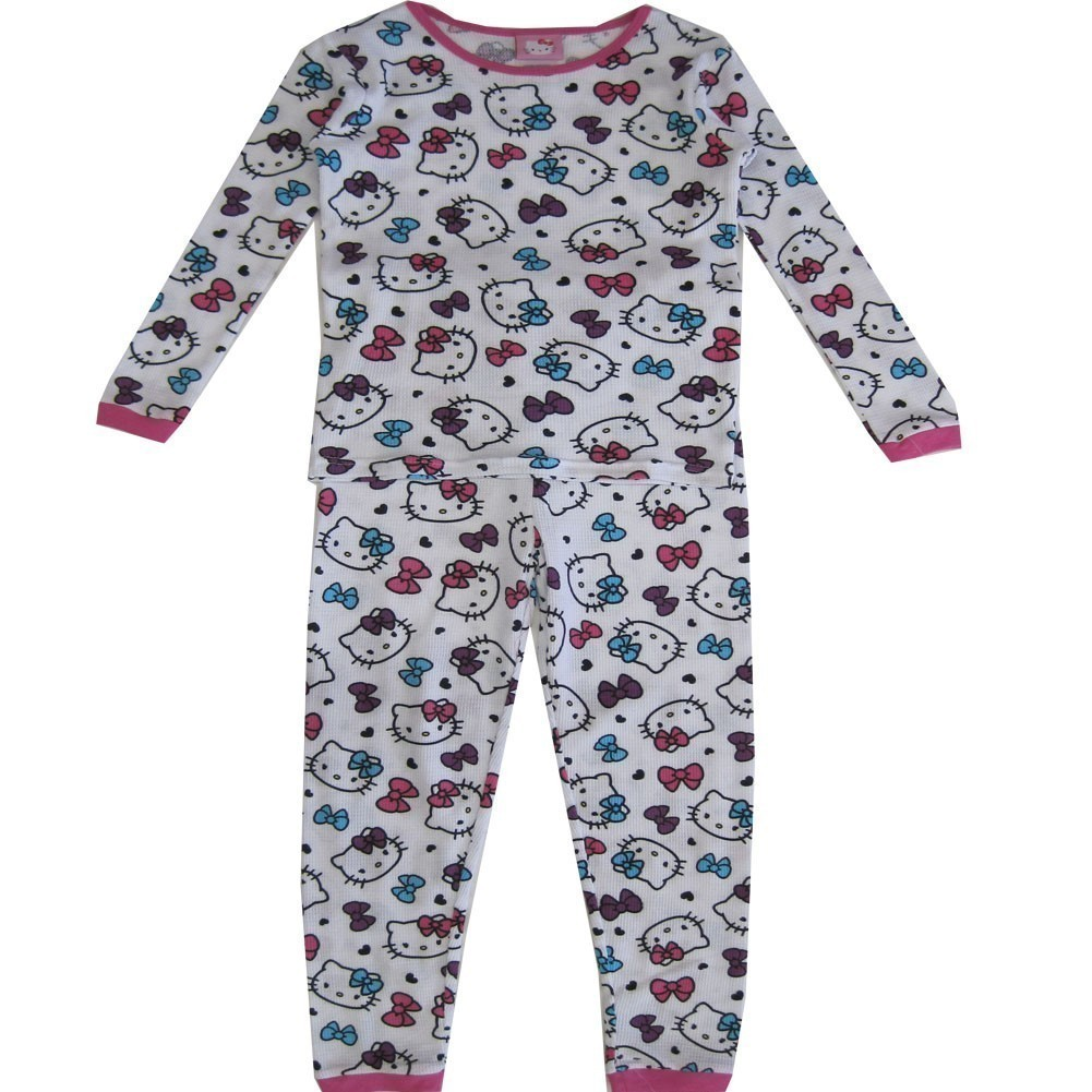 Hello Kitty Girls White Long Sleeve Thermo Two Piece Pajama Set 8