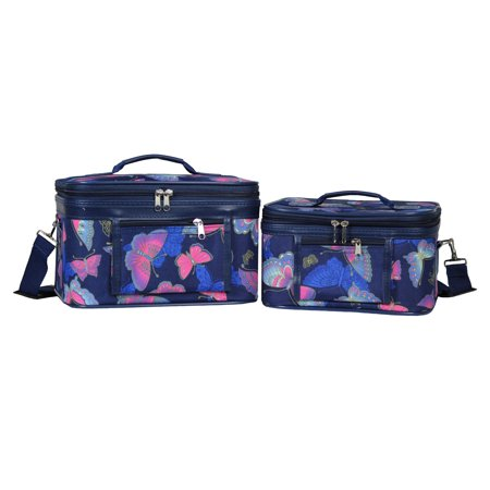 - World Traveler  Royal Butterfly 2-Piece Train Cosmetic Case Set