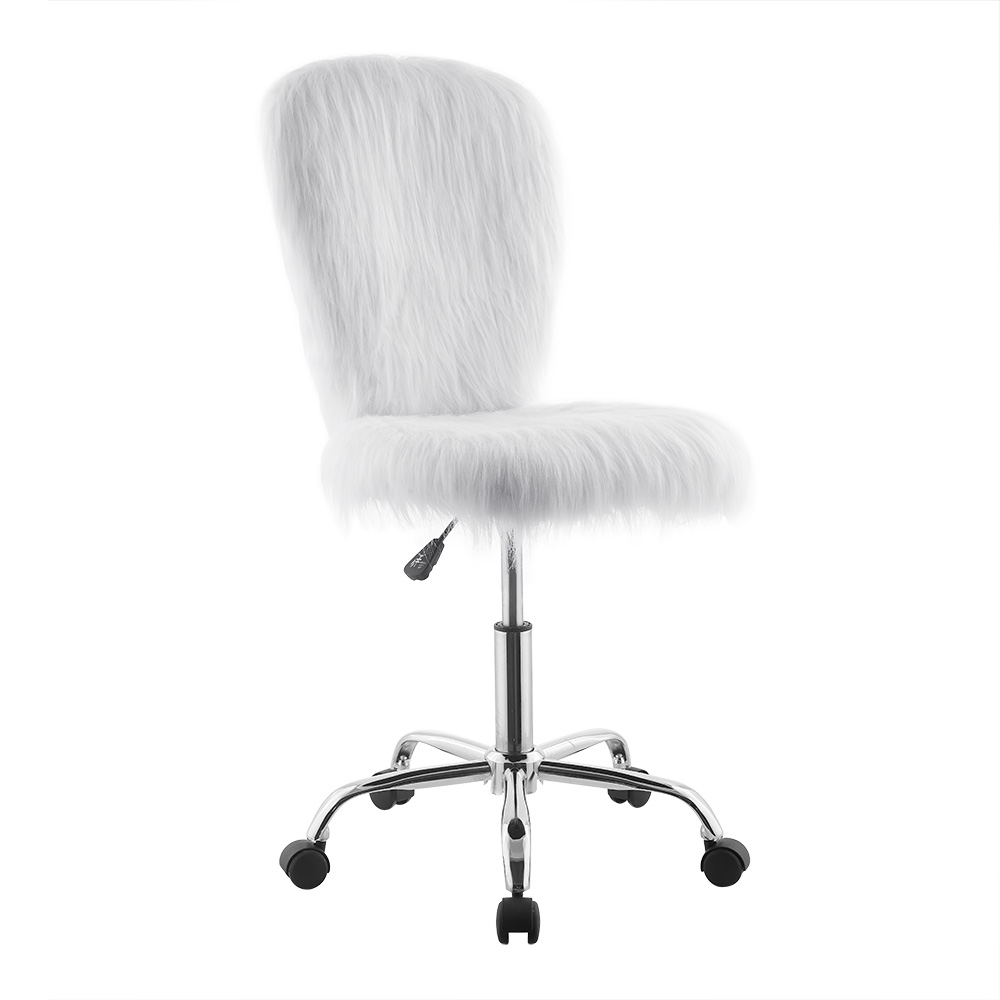 Genial Mainstays Faux Fur Mid Back Office Chair, White
