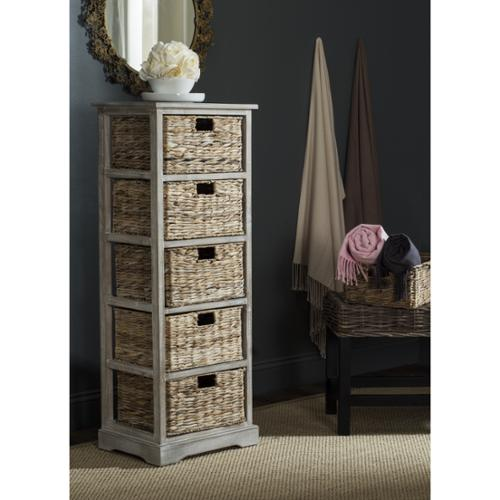 Safavieh Vedette Winter Melody 5-drawer Wicker Basket Storage Tower