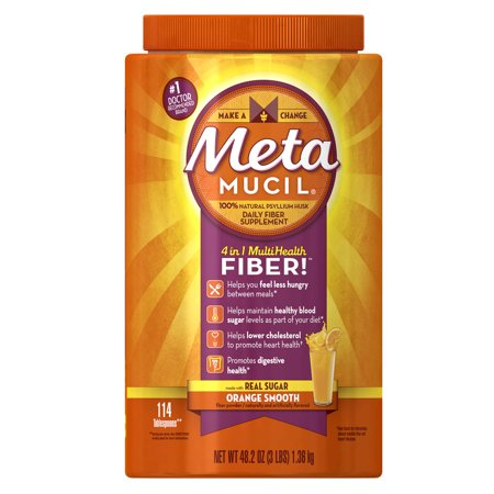 Metamucil Psyllium Fiber Supplement By Meta Orange Smooth Powder  48 2 Oz  114 Doses