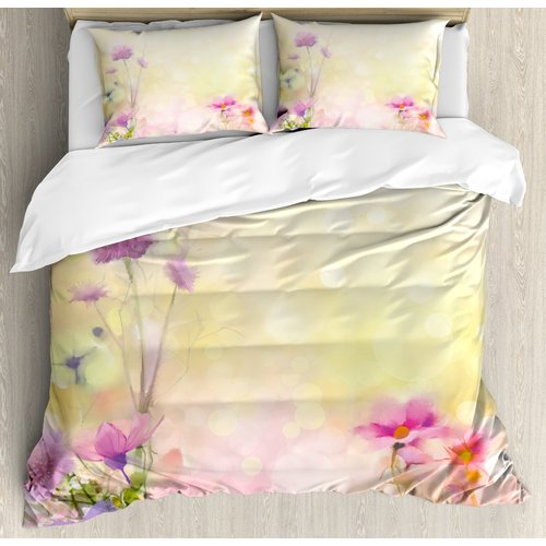 Ambesonne Watercolor Flower Home Vintage Soft Feminine Ma...
