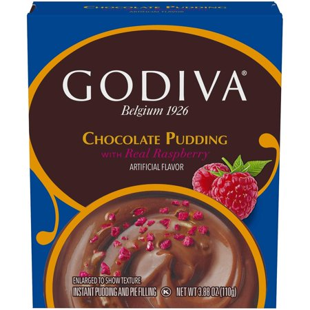 Godiva Chocolate Pudding with Raspberry - 3.88oz, pack of