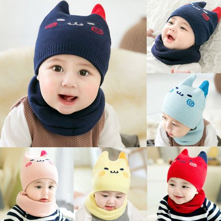 Baby Toddler Kids Boy Girl Winter Warm Knitted Crochet Beanie Hat Cap Scarf Set