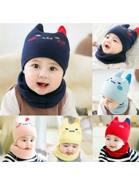 Product Image Baby Toddler Kids Boy Girl Winter Warm Knitted Crochet Beanie  Hat Cap Scarf Set 223ae0e381de