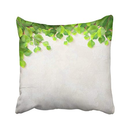 BSDHOME Season With Tree Branches Green Leaves White Plaster Wall With Subtle Delicate Pillowcase Pillow Cushion Cover 16x16 inches - image 1 de 1