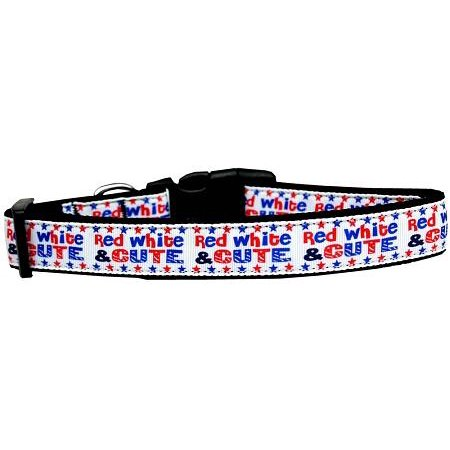 Red White And Cute! Nylon Dog Collar - Cute Large Dogs
