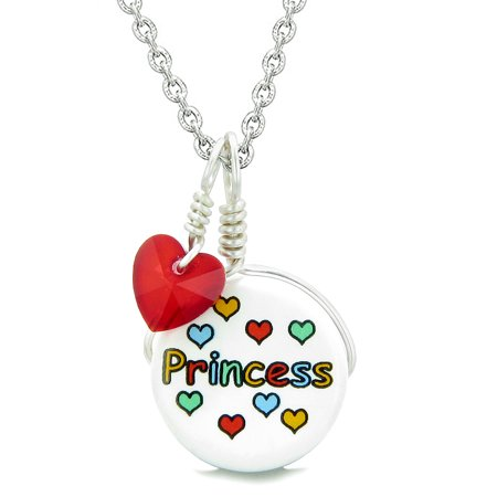 Handcrafted Cute Ceramic Lucky Charm Princess Royal Red Heart Amulet Pendant 18 Inch Necklace