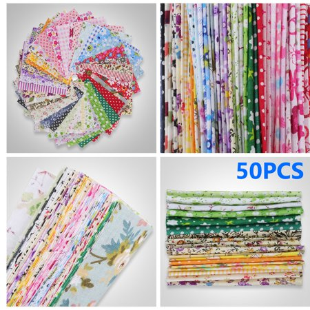 TSV 50/100PCS Squares DIY Sewing Pattern, 10*10cm/4*4in Different Pattern Fabric Patchwork Craft Cotton DIY Sewing Scrapbooking Quilting Dot Pattern, Easy to Manipulation, Cutting and Gluing