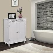 gymax white wooden 2 door bathroom cabinet storage cupboard 2 shelves free standing - Bathroom Cabinets Storage