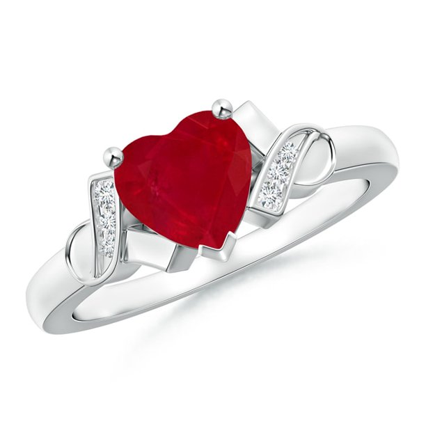 July Birthstone Ring - Solitaire Ruby Heart Ring with Diamond Accents in 14K White Gold (7mm Ruby) - SR0190RD-WG-AA-7-3.5