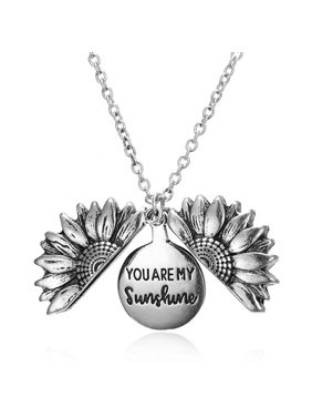 AkoaDa You Are My Sunshine Engraved Necklace Sunflower Locket Necklace Christmas Jewelry Gifts Fro Women Girls Lovers