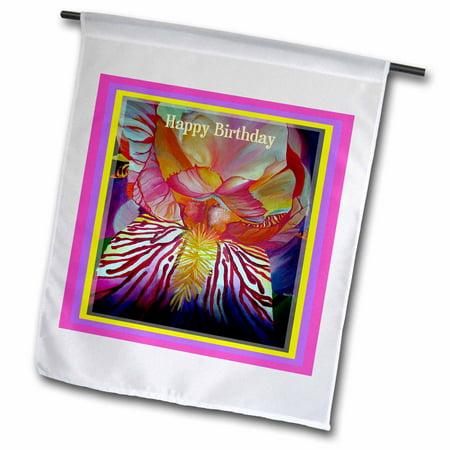 3dRose Happy Birthday- iris, flower, flowers,birthday, faith, hope,for her, birthday, gift idea - Garden Flag, 12 by 18-inch ()