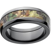 mossy oak new break up mens camo 8mm black zirconium band with polished edges and deluxe - Mossy Oak Wedding Rings