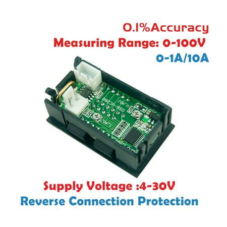 100v 10a Dc Digital Voltmeter Ammeter Blue Red Led Amp Volt Meter Gauge Walmart Canada