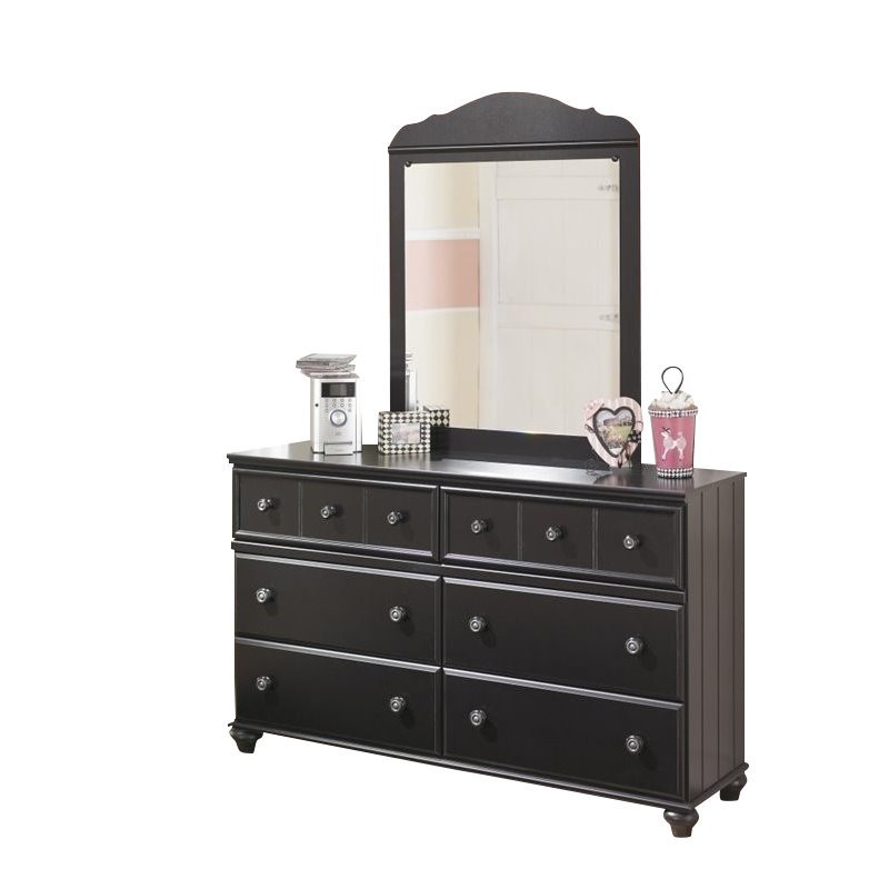 Ashley Furniture Jaidyn 6 Drawer Double Dresser with Mirror in Black by Ashley Furniture