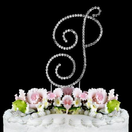 Crystal Monogram - Yacanna Swirl Design Crystal Monogram Cake Toppers Silver Cake Initial P Large