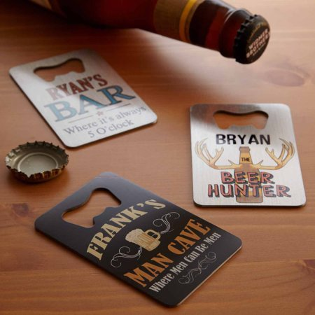 Personalized Wallet Bottle Opener  Man Cave