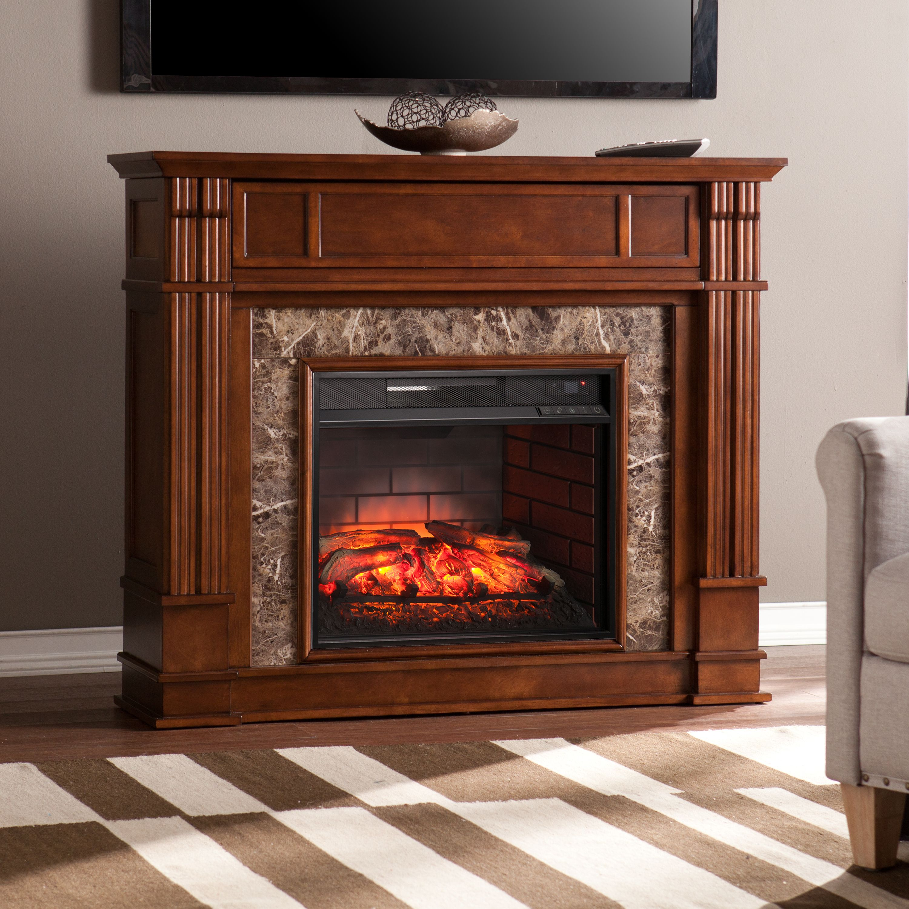 "Perifyre Media Infrared Fireplace Console with Faux Granite, for TV's up to 46"", Whiskey Maple"