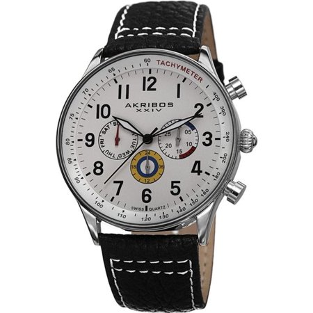 Akribos Xxiv Ak751ssw Swiss Quartz Day Date Gmt White Dial Black Mens Watch