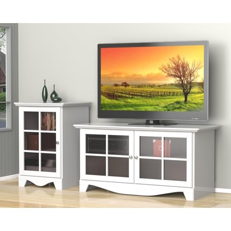 Pinnacle 49 Tv Stand With An 1 Door Audio Tower Finish White
