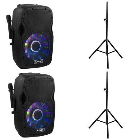 2 Knox 100-Watt 15-Inch Portable Bluetooth PA Speaker & 2 Steel Speaker Stands w  Air Cushion by