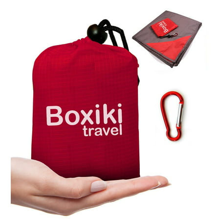 Boxiki travel Compact Waterproof Pocket Beach Blanket by Portable Lightweight Folding Tarp with Red Travel Case. Outdoor Picnic Camping Blanket with Easy Attachment