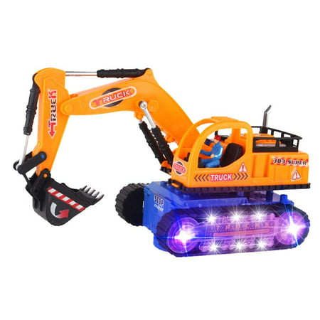 TECHEGE Excavator Truck Toys Crane for Toddler Boys and Kids with Sirens, LED Lights (Construction Vehicles)
