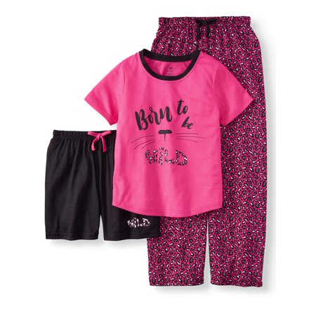 Chili Peppers Girls' 3 piece born to be wild pajama sleep set (little girl & big girl)](Girls Button Up Pajamas)