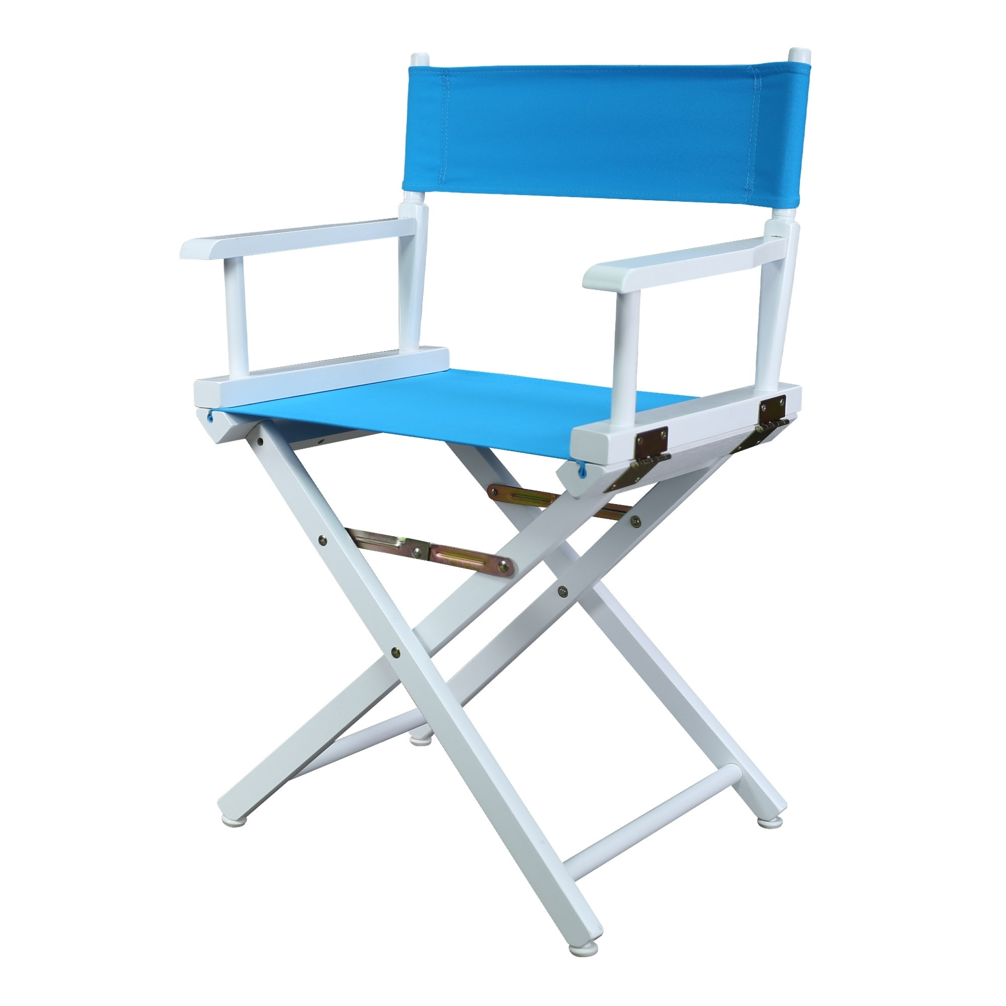 """18"""" Director's Chair White Frame-Turquoise Canvas"""