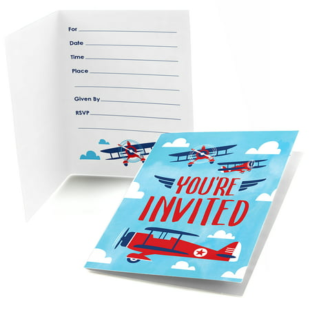 Taking Flight - Airplane - Fill In Vintage Plane Baby Shower or Birthday Party Invitations (8 count)