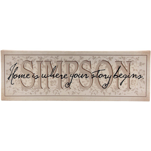 "Personalized ""Home Is Where Your Story Begins"" Canvas Wall Decor, 9"" x 27"""
