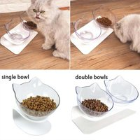 Cat Elevated Bowl,Transparent Cat Bowl With Holder Anti-slip,Pet Feeding Bowl, Raised The Bottom for Cats and Small Dogs, Cute Cat Face Single Double Bowl