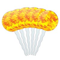 Camouflage Print Yellow Cupcake Picks Toppers - Set of 6