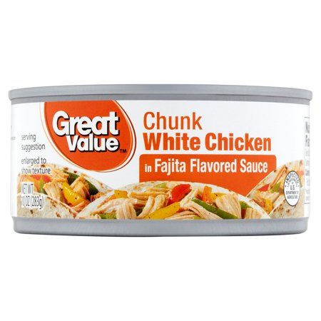 (3 Pack) Great Value Fajita Flavored Chunk White Chicken, 10 -