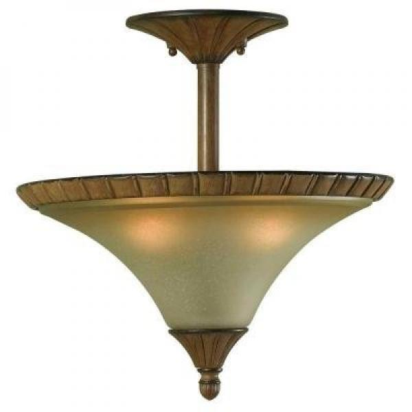 Hampton Bay Chester 2-Light Aruba Teak Semi-Flush Mount Light by