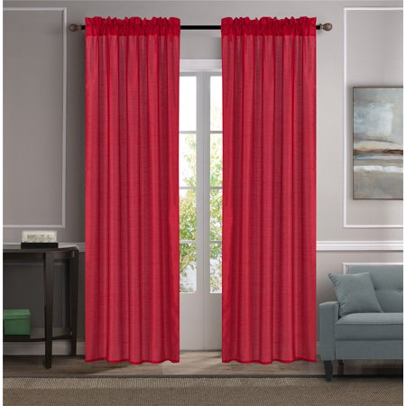 Each Silk Curtain (MR2 RED 2-PC SET MYRA Rod Pocket Faux Silk Window Curtain Treatment, Set of Two (2) Solid Semi Sheer Panels 55