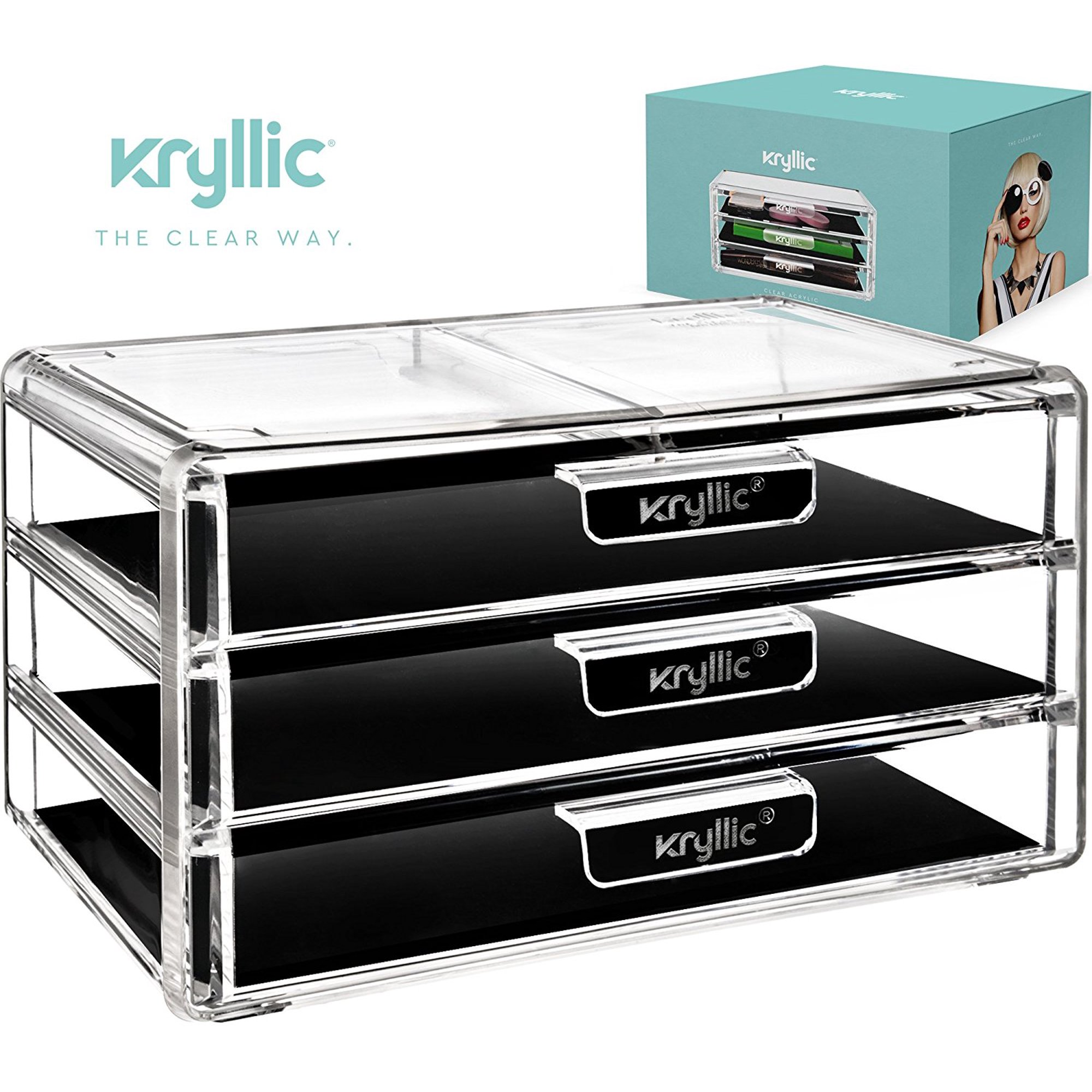aa1f9df26c0c Kryllic Acrylic Makeup Jewelry Cosmetic Organizer - Clear Acrylic Display  Storage for Jewelry Makeup Pallets & all Bathroom Accessories keep your  Vanity ...