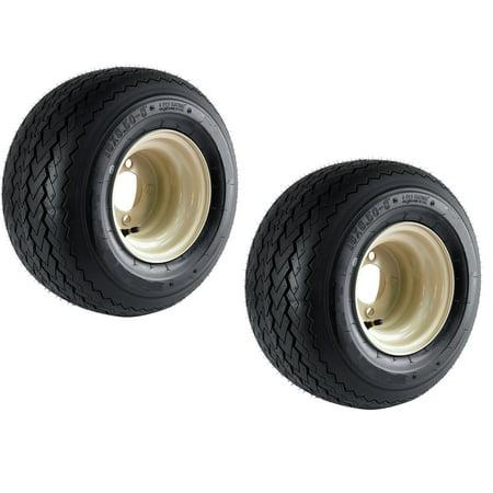 2-Pk Club Car Beige Tan Golf Cart Tire On Rim 18X8.50-8 18 x 8.5 x 8 Wheel 4