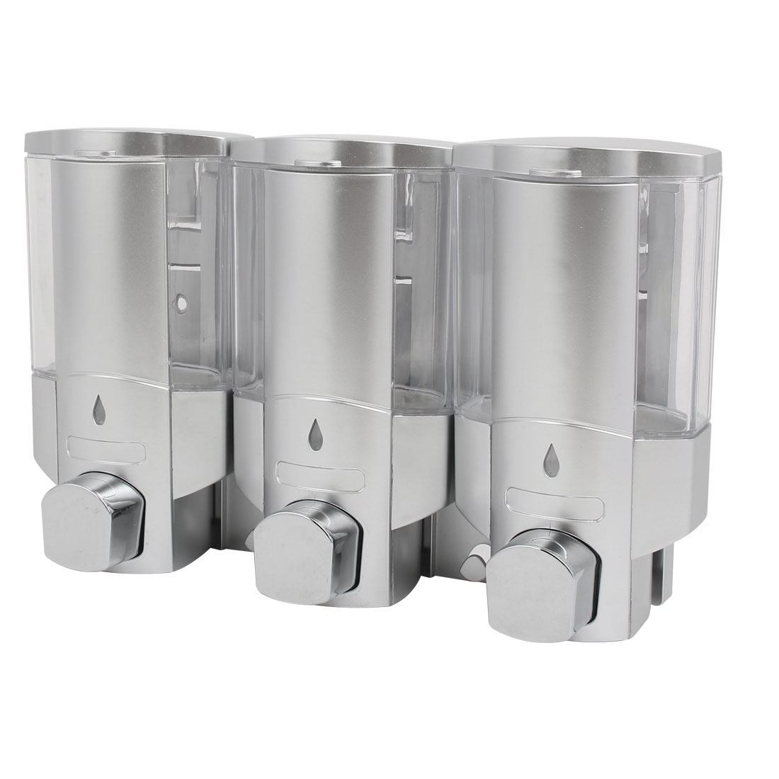 Uxcell ABS Plastic Wall Mount 3 Chember Soap Dispenser Silver Tone, 300ml Capacity Each
