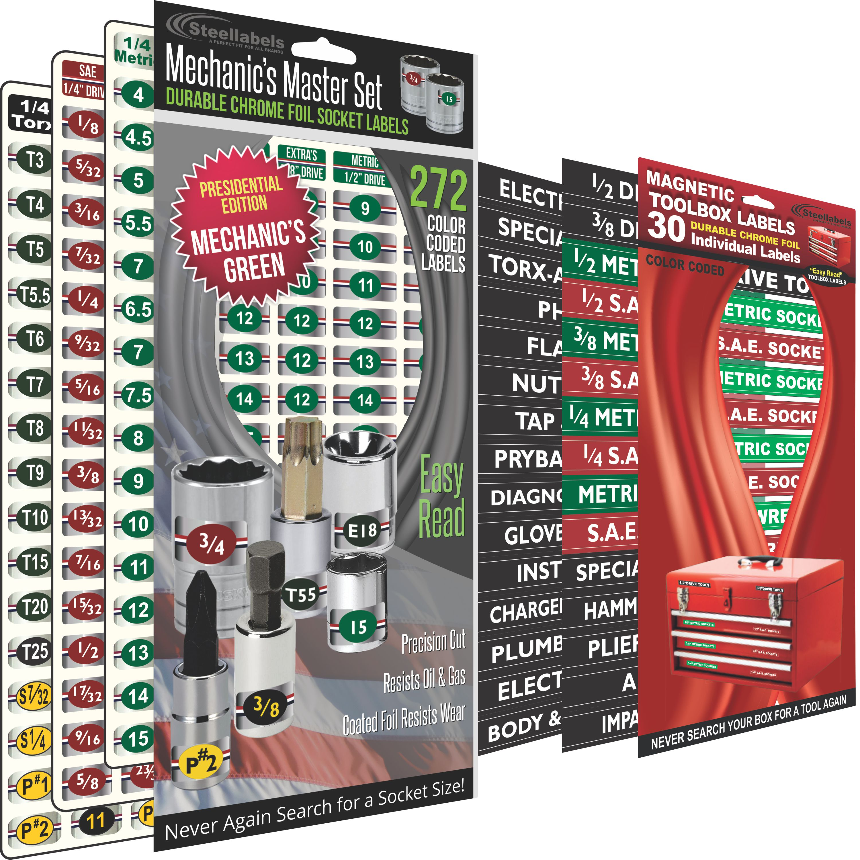 Steellabels - Combo Deal - Magnetic Toolbox Labels plus our best Master Set of Socket Labels - green series - for Metric, Torx & SAE tools, fits all Craftsman, Snap On, Mac Tools and Tool Chest