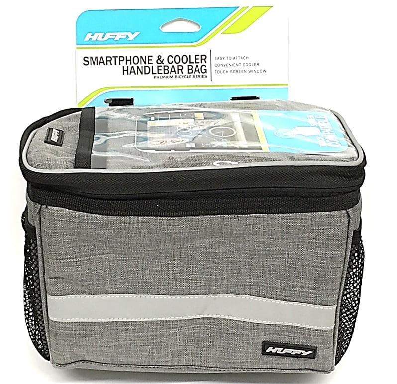 Huffy Handlebar Cooler Bike Bag with Smartphone Pocket, Woven Gray