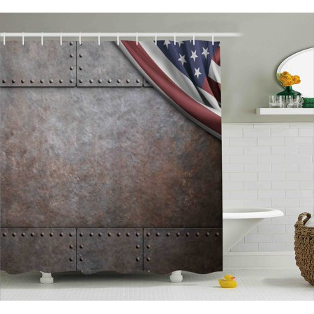 American Decor Shower Curtain Usa Flag Over Rust Metal Textured Iron Armor Plaque Military National
