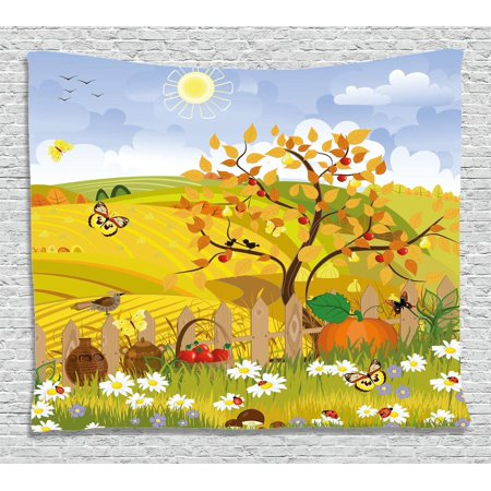 Fall Decorations Tapestry, Rural Scene with Sun Butterflies Birds and Daisies on Field Kid Nursery Concept, Wall Hanging for Bedroom Living Room Dorm Decor, 80W X 60L Inches, Multi, by Ambesonne